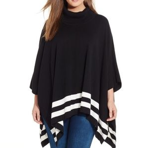 Calvin Klein Striped Cowl-Neck poncho